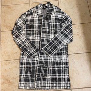 Grey plaid sweater coat